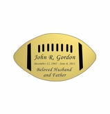 Football Nameplate - Engraved - Gold - 3-1/2  x  2