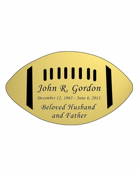 Football Nameplate - Engraved - Gold - 4-1/4  x  2-1/2