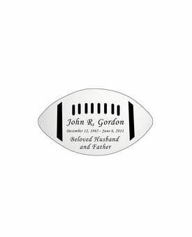 Football Nameplate - Engraved - Silver - 2-3/4  x  1-5/8