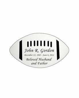 Football Nameplate - Engraved - Silver - 3-1/2  x  2
