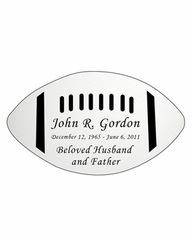 Football Nameplate - Engraved - Silver - 4-1/4  x  2-1/2