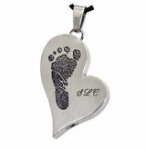 Footprint and Initials Teardrop Heart Stainless Steel Memorial Cremation Pendant Necklace