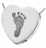 Footprint Heart Slider Sterling Silver Memorial Cremation Pendant Necklace