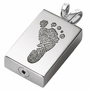 Footprint Rectangle Stainless Steel Memorial Cremation Pendant Necklace