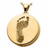 Footprint Round Solid 14k Gold Memorial Cremation Pendant Necklace