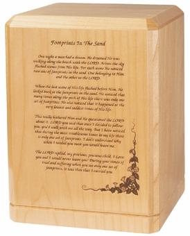 Footprints Classic Maple Wood Cremation Urn