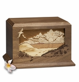 Footprints Dimensional Heirloom Walnut Wood Cremation Urn