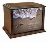 Footprints in the Sand Eternal Reflections Wood Cremation Urn - 3 Sizes