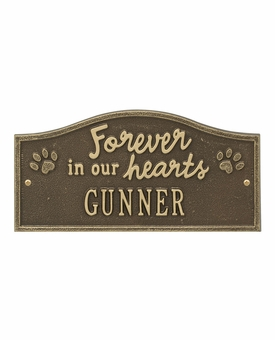 Personalized Forever in Our Hearts Pet Lawn and Garden Memorial Wall Plaque or Garden Marker - 10 Colors