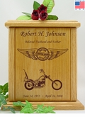 Forever Riding Chopper Motorcycle Circle And Wings Engraved Wood Cremation Urn