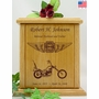 Forever Riding Chopper Motorcycle Cross And Wings Engraved Wood Cremation Urn