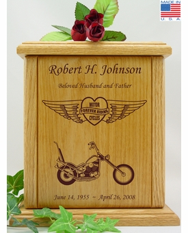 Forever Riding Chopper Motorcycle Heart And Wings Engraved Wood Cremation Urn