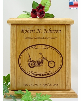 Forever Riding Chopper Motorcycle Oval Engraved Wood Cremation Urn