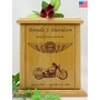 Forever Riding Custom Motorcycle Cross And Wings Engraved Wood Cremation Urn