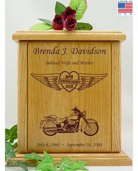Forever Riding Custom Motorcycle Heart And Wings Engraved Wood Cremation Urn
