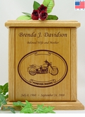 Forever Riding Custom Motorcycle Oval Engraved Wood Cremation Urn