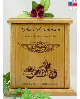 Forever Riding Tour Motorcycle Circle And Wings Engraved Wood Cremation Urn