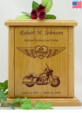 Forever Riding Tour Motorcycle Heart And Wings Engraved Wood Cremation Urn