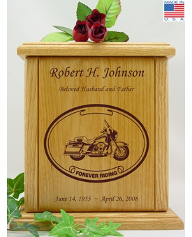 Forever Riding Tour Motorcycle Oval Engraved Wood Cremation Urn