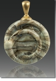 Fossil Helix Cremains Encased in Glass Cremation Jewelry Pendant