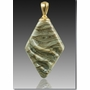 Fossil Rhombic Cremains Encased in Glass Cremation Jewelry Pendant