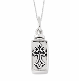 Framed Cross Antiqued Sterling Silver Cremation Jewelry Necklace