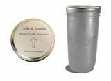 Silver Frosted Mason Jar Cremation Urn
