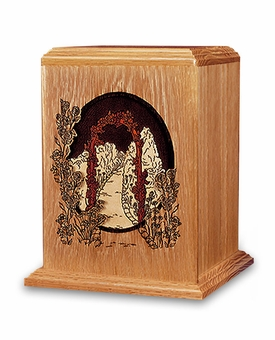 Garden Walk Dimensional Wood Cremation Urn - Engravable