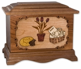 Gardener with 3D Inlay Walnut Wood Cremation Urn