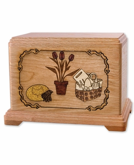 Gardening with 3D Inlay Oak Wood Hampton Cremation Urn