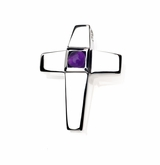 Genuine Amethyst Birthstone Cross Polished Sterling Silver Cremation Necklace Pendant
