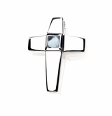Genuine Aquamarine Birthstone Cross Polished Sterling Silver Cremation Necklace Pendant