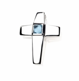 Genuine Blue Topaz Birthstone Cross Polished Sterling Silver Cremation Necklace Pendant