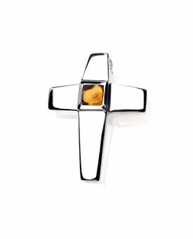 Genuine Citrine Birthstone Cross Polished Sterling Silver Cremation Necklace Pendant