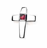 Genuine Garnet Birthstone Cross Polished Sterling Silver Cremation Necklace Pendant