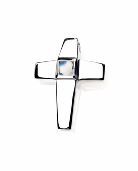 Genuine Moonstone Birthstone Cross Polished Sterling Silver Cremation Necklace Pendant