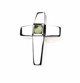 Genuine Peridot Birthstone Cross Polished Sterling Silver Cremation Necklace Pendant