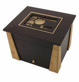 Geometric Cut Panel Craftsman MDF Wood Memory Chest Cremation Urn