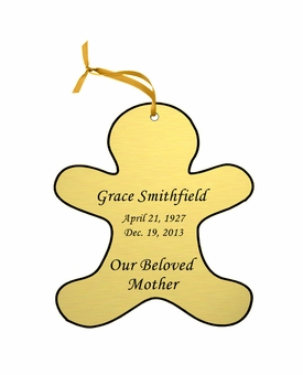 Gingerbread Man Double-Sided Memorial Ornament - Engraved - Gold