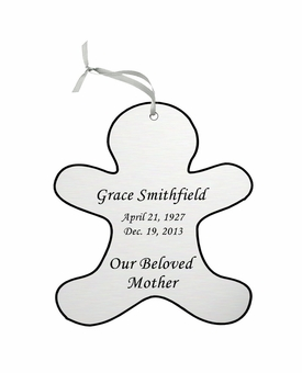 Gingerbread Man Double-Sided Memorial Ornament - Engraved - Silver