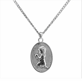 Girl Kneeling Sterling Silver Cremation Jewelry Necklace