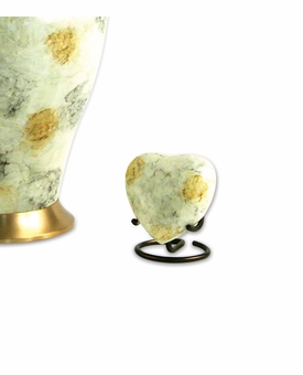 Glenwood White Marble Heart Brass Keepsake Cremation Urn