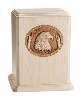 God Family Country Patriot Maple Wood Cremation Urn