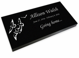 Going Home Doves Grave Marker Black Granite Laser-Engraved Memorial Headstone