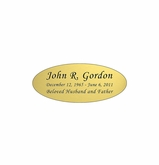 Gold Engraved Nameplate - Oval - 2-3/4  x  1-1/8
