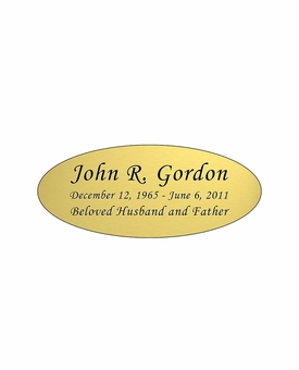 Gold Engraved Nameplate - Oval - 3-1/2  x  1-7/16