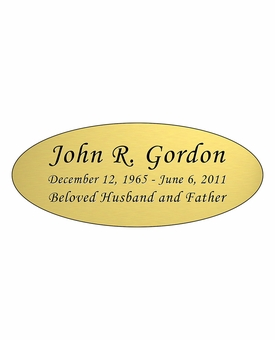 Gold Engraved Nameplate - Oval - 4-1/4  x  1-3/4
