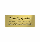 Gold Engraved Nameplate - Rounded Corners - 3-1/2  x  1-7/16