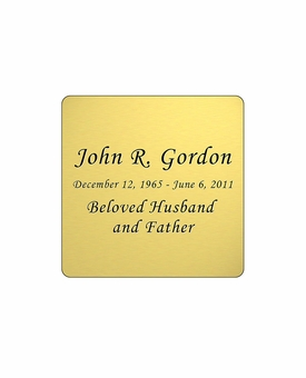 Gold Engraved Nameplate - Square with Rounded Corners - 1-7/8  x  1-7/8