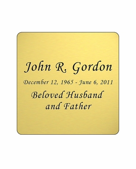 Gold Engraved Nameplate - Square with Rounded Corners - 2-3/4  x  2-3/4